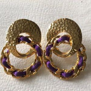 Fab 80s Vintage Gold Hammered Earrings w Purple